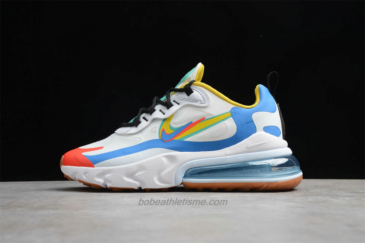 Chaussures Nike Air Max 270 React CT1634 100 Blanc / Bleu / Rouge / Jaune