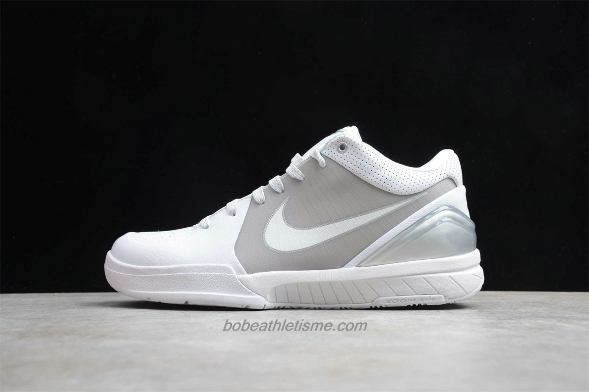 Chaussures Nike Zoom Kobe IV Hommes 344335 111 Blanc / Gris / Argent